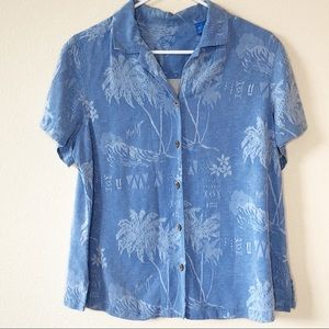 Maui Jim Button Up Blouse 100% Silk